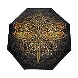 QMIN Paraguas plegable automático, diseño tribal de mandala, flor, libélula, animal, resistente al viento, protección UV, para viajes, compacto, para mujeres, hombres y niñas