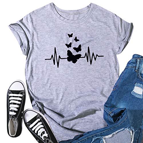 Proumy Damen T-Shirt mit Schmetterling Aufdruck Sommer Casual Kurzarm Lose Bluse Tee Shirt Vintage Lässig Rundhals Oberteile Tops(Grau -01,XXXL)