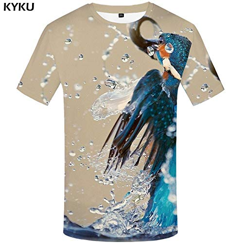 YUNDONGXIENV 3D Tshirt Animal T-Shirt Hommes T-Shirts Tigre 3D T-Shirt Féroce Imprimé Rue Chemise Imprimer Vêtements Vêtements Hommes