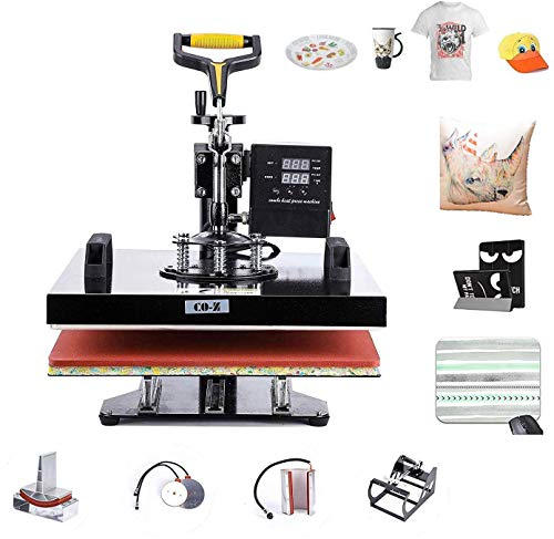 """CO-Z 5 in 1 Pro Heat Press Machine 15"""" x 15"""" Intelligent Audible Alarm Transfer Sublimation Printer Swing Away Multifunctional for T-Shirt/Hat/Mug/Plate/Cap/Cup"""