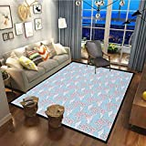 Cherry Blossom Decor Carpets for Kitchen Floor Laundry Living Room Pattern with Sakura and Clouds Hand Drawn Style Spring Blossom Tree Pink Cocoa Sky Blue30x63 Inch