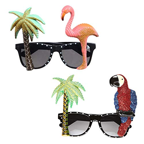 Gobesty Brille Hawaii, 2 Stück Partybrille Hawaii, Hawaii Sonnenbrillen, Tropical Party Brille mit Palme und Flamingo Deko, Beach Partybrille für Sommer Tropical Beach Party Dekoration