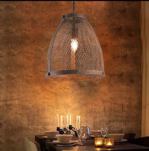 XZhstes Barra de hierro retro industrial para cafetería de viento creativa jaula de hierro simple lámpara de araña para restaurante o sala de estar (tamaño: D430 x 280 mm)