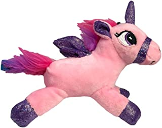 Puka Creations LLC Pink Rainbow Unicorn with Shimmering Wings Stuffed Animal Musical Sound Plush Toy Backpack Clip Key Chain