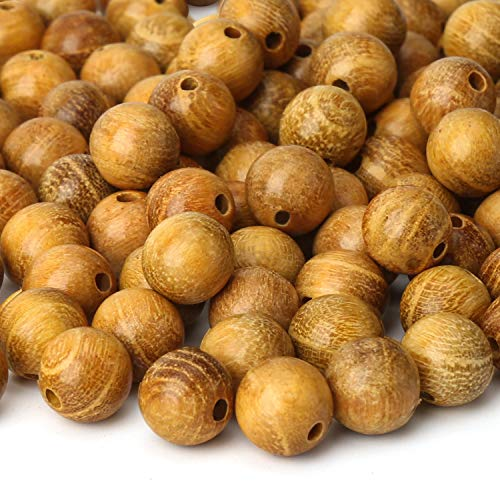 Prometis 200pcs 6mm Natural Sandalwood Round Beads Gorgeous Craft Handmade Polished Spacer Beads with Elastic Cord for Bracelets DIY Jewelry Making (Golden Sandalwood (200 pcs), 6mm Diameter)