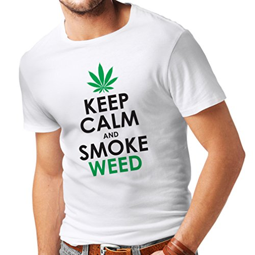 lepni.me Camisetas Hombre Mantener la Calma y Humo - Hoja de Marihuana (XXXX-Large Blanco Negro)