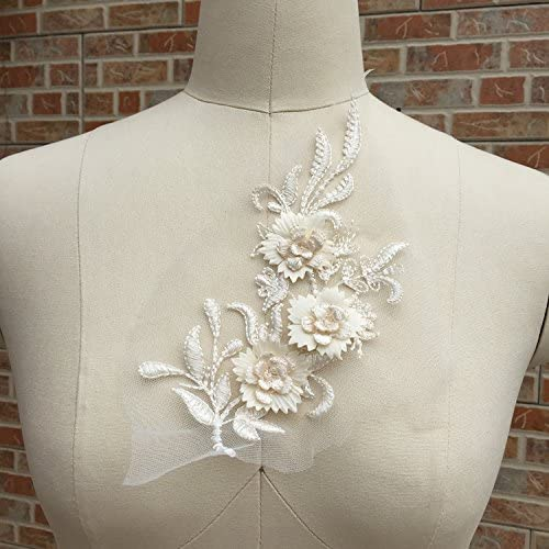 2Pcs 3D Flower Embroidered Lace Dress Handmade Super beauty product restock quality top! Recommended Wedding Appliques