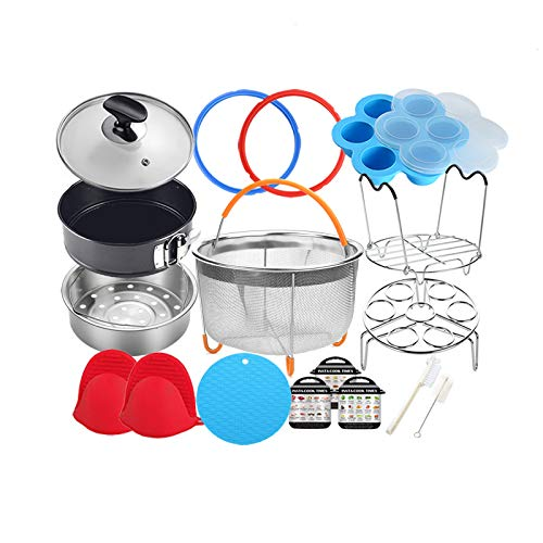 Pressure Cooker Accessories Compatible with Instant Pot 6 Qt - Steamer Basket, Glass Lid, Silicone Sealing Rings, Egg Bites Mold, Springform Pan, Egg Steamer Rack and More