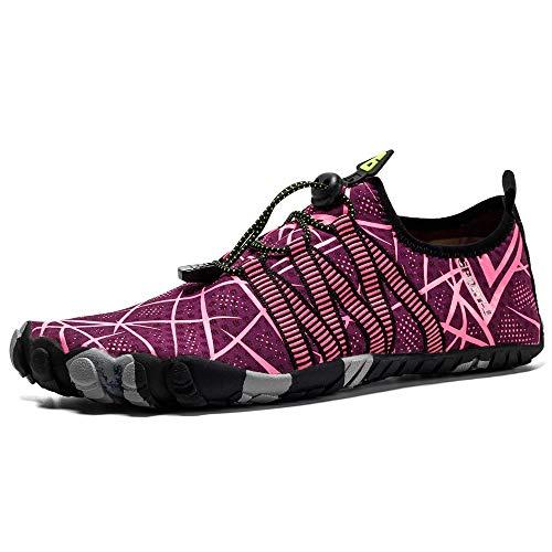 Zapatos de Agua para Mujer para Hombre Plus tamaño de los Zapatos vadear Zapatos al Aire Libre Pares Ocasionales Deportes acuáticos Secado rápido (Color : Red, Tamaño : 43)