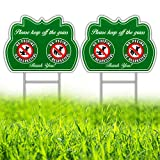 HISVISION No Peeing/Pooping Be Respectful Dog Sign 2 Pack, Keep Off The Grass Yard Sign with Metal Wire H-Stakes Included, 12' x 9' Stay Off Grass Signs Double Sided