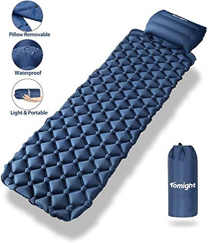 tomight Isomatte Camping, Ultraleichte Isomatte mit Abnehmbares Kissen, 2.16 M Luftmatratze Camping Lang Abschnitt Wasserdicht für Wandern, Backpacking, Camping, Strand