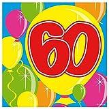 Tovaglioli 60 anni con palloncini - 20 pezzi