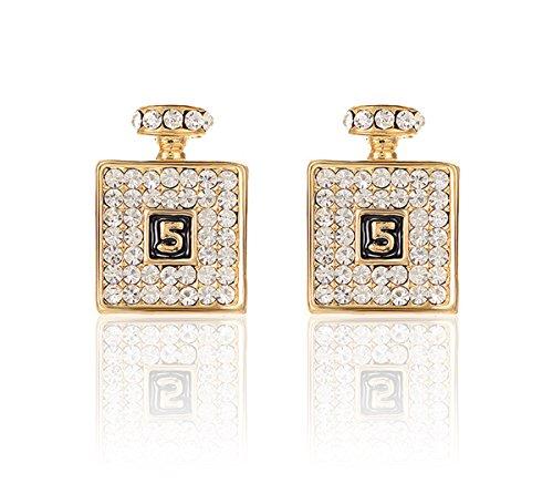 2LIVEfor Goldene Ohrringe Flasche Flacon Ohrstecker Glitzer Gold und Silber Ohrringe Quadratisch mit Österreichischen Kristallen Zahlen Nr.5 Eckig Viereck (Gold)