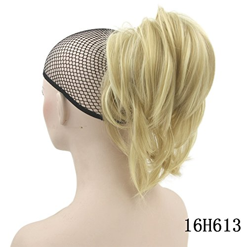 Short Curly Ponytail Synthetic Hair Blonde Clip In Hair Extensions