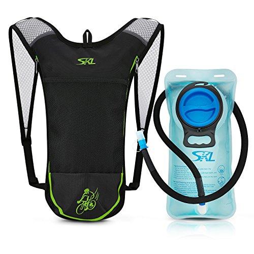 Mochila de hidratación para ciclismo con bolsa de agua de 2 litros sin PBA para correr, ciclismo, ciclismo, senderismo, escalada, esquí, caza, en color negro
