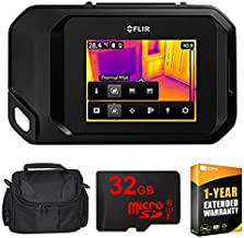 FLIR 72003-0303 C3 Compact Thermal Imaging Inspection Camera System w/Wi-Fi - Black w/Compact Deluxe Gadget Bag + 32GB MicroSD Memory Card and 1 Year Extended Warranty Essential Bundle
