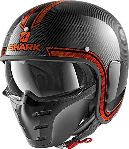 Shark Motorradhelm S-DRAK CARBON VINTA DUO, Schwarz/Orange, XL