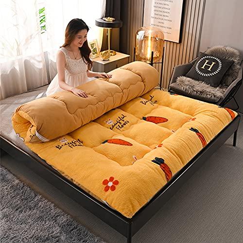 Colchón de lana de cordero, tapete de futón de tatami de dibujos animados, colchón de futón cálido, almohadilla de dormir acolchada para acampar, para niños, niñas, dormitorio para niños,C,Full