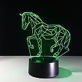 Led Night Lights 3D,Kinder Geschenke Farbwechsel Tier Luces Navidad Pferd Led Nachtlichter 3D Led Schreibtisch Tischlampe Nachttischlampen Dekoration