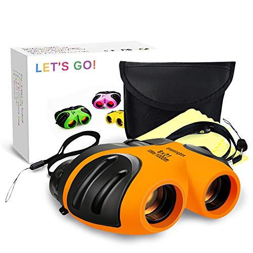 Juguetes para niños de 3 a 12 años, DMbaby 8 x 21 Compacto Impermeable Viaje prismáticos Naranja DL05