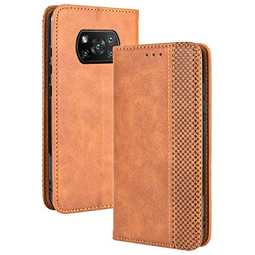 TANYO Leder Folio Hülle für Xiaomi Poco X3 Pro | X3 NFC, Premium Flip Wallet Tasche mit Kartensteckplätzen, PU/TPU Lederhülle Handyhülle Schutzhülle - Braun