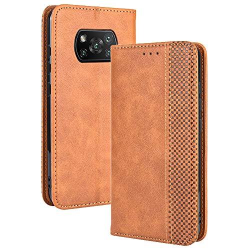 TANYO Funda Leather Folio para el Xiaomi Poco X3 Pro | X3 NFC, PU/TPU Premium Flip Billetera Carcasa Libro de Cuero con Ranuras y Tarjetas - Marrón