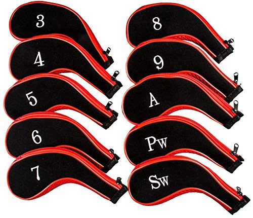 Proberos® 10 Golf Clubs Iron Set Headcovers Head Cover Red/Black