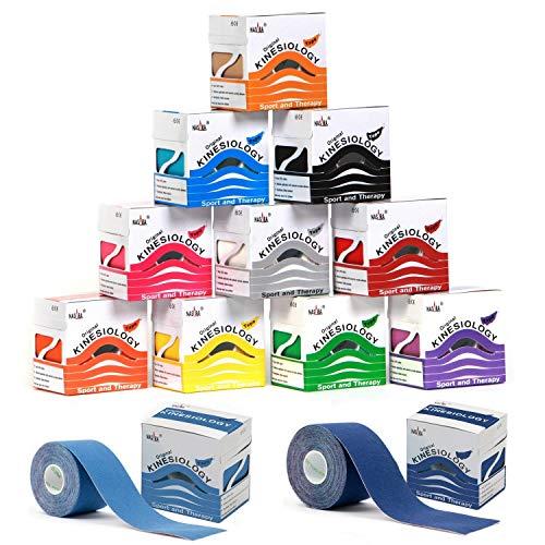 Nasara Original Kinesiologie Tape, Sparsets mit 2 bis 12 Rollen. Viel Farben und Kombinationen. Rollengröße 5cm x 5m (Viele Farben im12er Set)