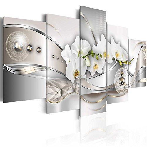 murando Quadro Fiori Orchidea 200x100 cm 5 pezzi Stampa su tela in TNT XXL Immagini moderni Murale Fotografia Grafica Decorazione da parete Fiore Astratto b-A-0073-b-n