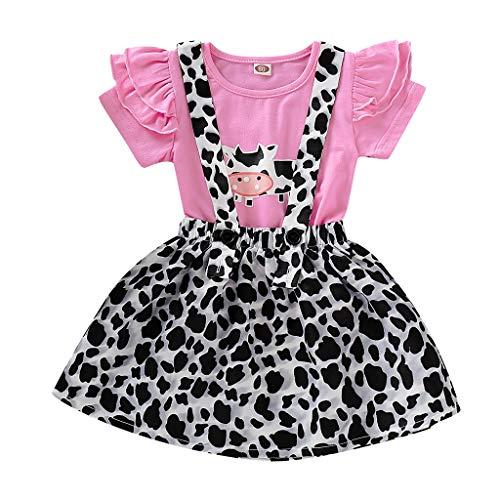 QinMMROPA bebé niña Ropa Conjuntos, Camiseta Tops y Falda Peto Estampado de Vaca Camisa Volantes para Bebes niñas niños