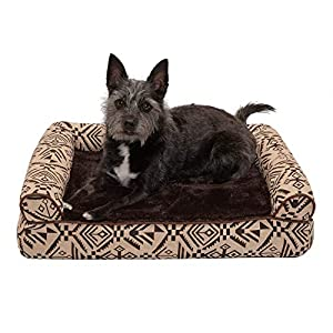 Furhaven Pet Dog Bed – Memory Foam Plush Kilim Southwest Home Decor Traditional Sofa-Style Living Room Couch Pet Bed with Removable Cover for Dogs and Cats, Desert Brown, Small