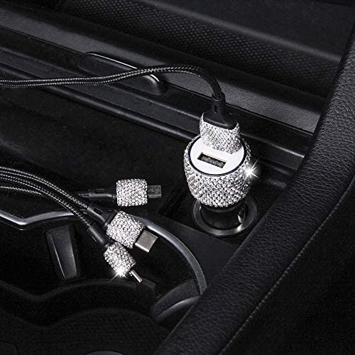 Bling Dual USB Car Charger Quick Charge 3 0 Crystal Car Decorations Fast Charging Adapter Women product image