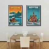 DYAO Impresiones en Lienzo Pintura artística en Lienzo Nueva York Países Bajos Ámsterdam Londres Vintage Viajes Ciudades Paisaje Carteles Cuadro artístico de Pared 15.7'x19.6 (40x50cm) × 2PCS
