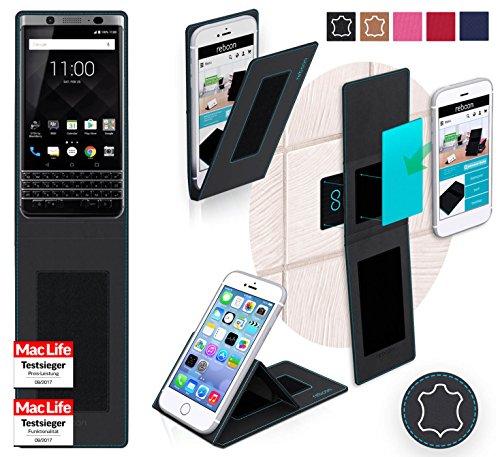 reboon Hülle für BlackBerry KEYone Tasche Cover Hülle Bumper | Schwarz Leder | Testsieger