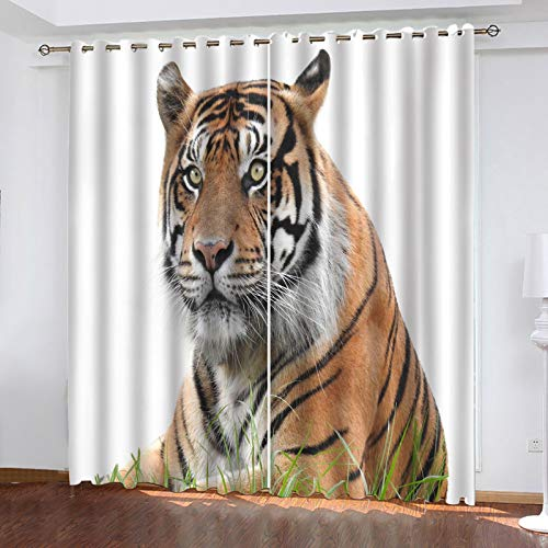 MMHJS Cortina De Tigre Impresa En 3D De Fibra De Poliéster Cortina Súper Opaca Cortinas Gruesas Adecuadas para Baño, Dormitorio, Balcón 2 Piezas