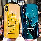 iPhone8 ケース iphone7 ケース ニコちゃん かわいい iPhone X ケース iphoneケース 耐衝撃 ケース アイフォン8 カバー スマホケース 携帯カバー (iPhone 8/7 PLUS, ブルー)