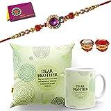 Tonkwalas Printed 12'x12' Cushion Cover with Filler Mug Rakhi Gift for Brother Combo Pack (Rakhi, Printed Cushion Cover, Coffee Mug, Roli Chawal, Greeting Card)