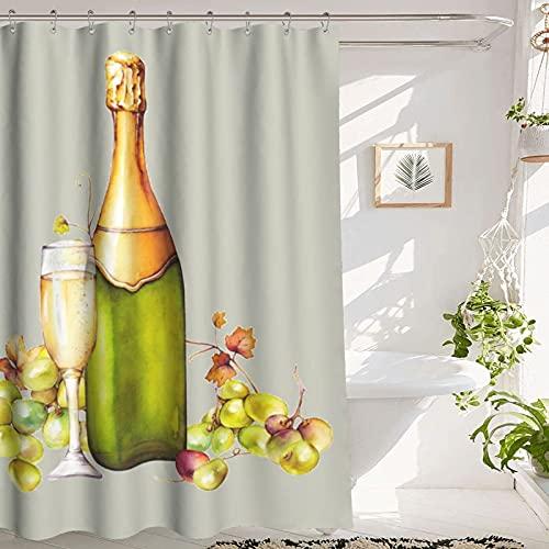 Duschvorhang Champagne Shower Curtain, Bathroom Shower Curtain, Vintage Champagne Bottle and Grapes ,Premium Polyester Machine Washable Waterproof Champagne Shower Curtain,72x72 Inches, Gray Green