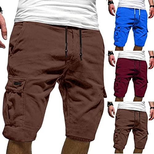 Zarupeng Männer Shorts Cargo Hose Mode Cargo Muti Taschen Bandage Casual Herren Sporthosen Freizeithose Sweatpants Lange Arbeitshose für Atmungsaktive Hosen Camouflage Pants Camo Trousers