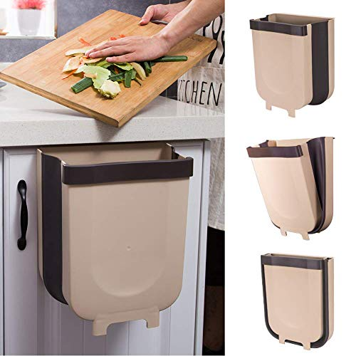 Dušial Trash Can Kitchen Hanging Collapsible Small Garbage Can Waste Bin for Home Kitchen Cabinet Door