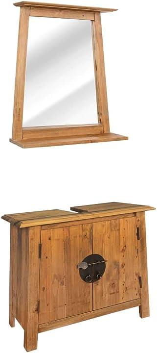 Set mobili per il bagno in massello di pino riciclato arredi armadietti vidaxl 246040