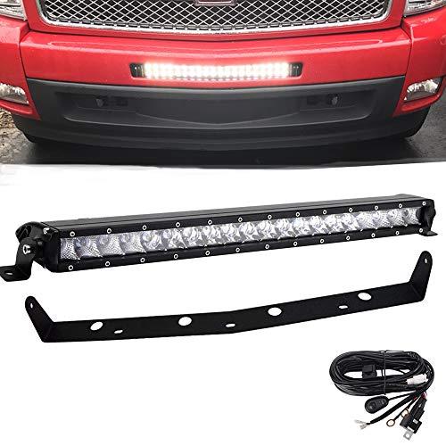 20 Inch 100W Straight Single Row LED Light Bar & Wiring Kit w/Front Hidden Lower Bumper Mounting Brackets For 2007-2013 Chevrolet Silverado 1500 and 2007-2010 Silverado 2500 3500 HD