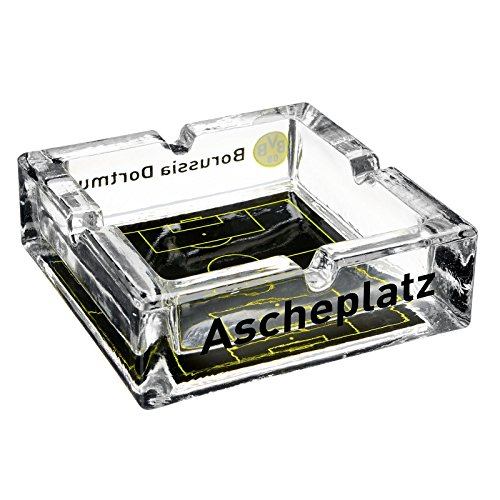 Borussia Dortmund Glas - Aschenbecher / Ascher / Ashtray Südtribüne BVB 09 - plus gratis Aufkleber forever Dortmund