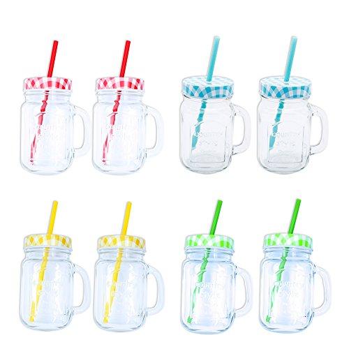 4/8er Set Bicchiere con maniglia ' countryii ' con coperchio e cannuccia