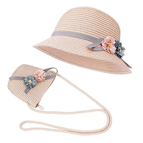 FT-SHOP Strohhut und Kleine Tasche Set Mädchen Kinder Sommer Sonnenhut mit Blumendekoration für den Urlaub Reise Outdoor-Aktivitäten