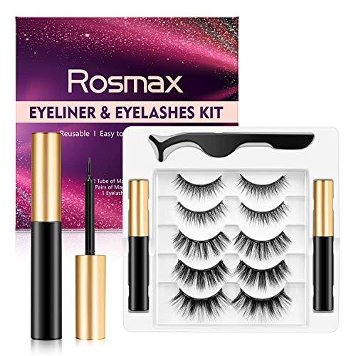 Magnetic Eyelashes with Eyeliner Kit, Rosmax 5 Pairs Reusable False Eyelashes Natural Look, Tweezers and Eyeliner, Easy to Wear No Glue Lashes Pack