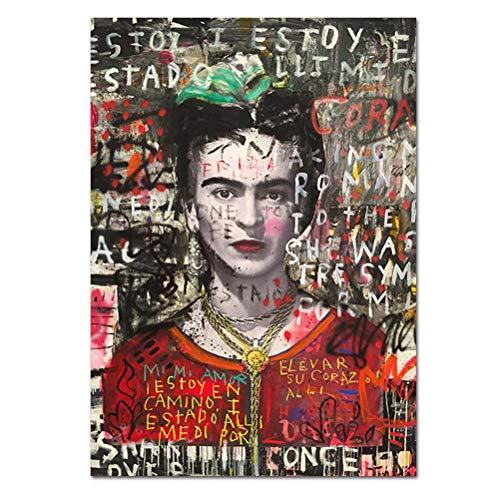 Impresiones De Arte De Pared De Lona Pinturas De Retratos De Frida Kahlo Arte Pop Moderno Vintage Colorida Calle Banksy Graffiti Art Surrealismo Imágenes Decor - Sin Marco,40×60cm