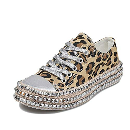 JITUUE Women's Sexy Leopard Print High Top Canvas Sneaker Rhinestone Shiny Lace-up Flat Shoes Rivets Embellished Flats Shiny Platform Leisure Low Sneakers(Leopard,8