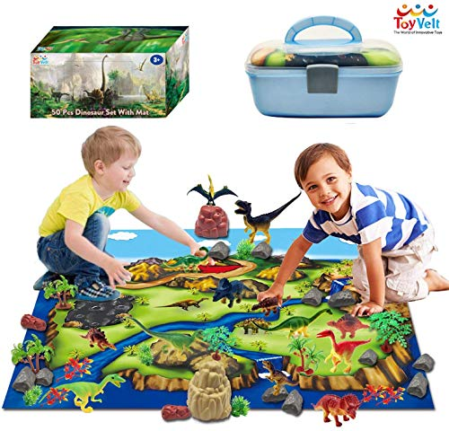 ToyVelt Dinosaur Play Set Dinosaur Toys Includes Dinosaur Figures, Trees, Rocks,...