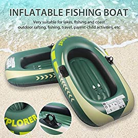 N/Y Inflatabl Kayake Boat, Touring Kayak PVC Inflatable Boat for Fishing Pool Drifting Diving Inflatable Kayak Rowing… 6 ♢ Heavy Duty: This heavy duty boat adopts good quality PVC material, thickness up to 0.3mm, airtight and wear-resistant. Kayak has two sizes, 1 people: 150*100cm, load: 55kg; 2 people: 188*114cm, load: 90kg. ♢ Double Valve Design: Double valve design is good for fast inflation and deflation. With two paddle mounts, it can hold paddle for labor-saving paddling. ♢ High Quality: Made of high-quality and tough PVC material, come with a wall thickness of 0.3cm, the inflatable boat is resistant to tearing and abrasion, and it features high strength and not easy to damage.